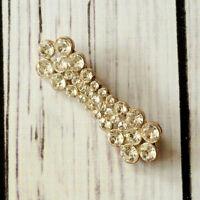 vintage rhinestone bar brooch pin silver tone