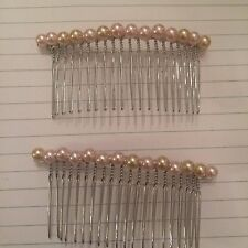 (2) Vintage Blush Pink Faux Glass Pearls Silver Metal Hair Comb Combs