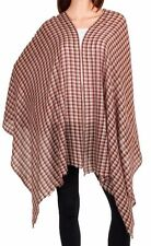 Pure Cashmere Checkered Pashmina Hand Dyed: Classic Brown Check Scarf or Wrap