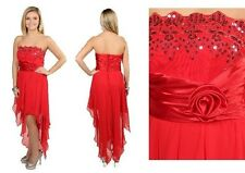 Formal Sequin Bodice Red Chiffon High Low Holiday Formal Prom Dress Gown Jr Sz 5