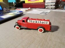"""VINTAGE DINKY TOYS BY MECCANO MOBIL OIL TANK TRUCK RED 4"""" LONG"""
