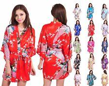 Silk Satin Short Robe Kimono Bridal Bridesmaid Dressing Gown Sleepwear Bathrobe