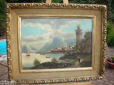 Oberwesel Rhein Ansicht Rheinromantik Biedermeier um 1840 Öl a.L. Rheinpanorama