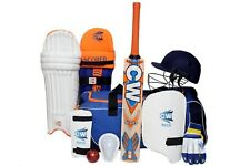 Junior Scoremaster Cricket Set Size 5 Accessories Kit Orange Blue For 9-10 Yrs