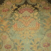 Rare Teal Blue Victorian Artichoke Floral Heavy Lampas Style Upholstery Fabric