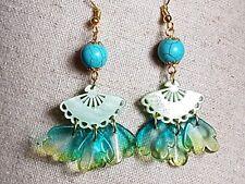 Turquoise Earrings bead Green Fan-shaped Flower Gold tone Dangle Drop Jewellery