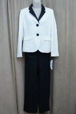 LE Suit Pant Suit Petite Sz 6P Vanilla Ice Black Bordeaux Satin Collar Career