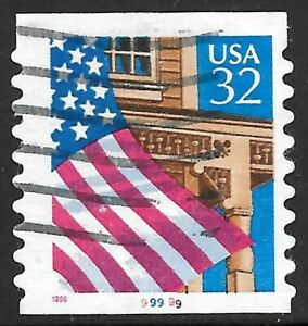U.S. Scott #2915A 32-Cent Flag Over Porch Plate #9.9999 EFO USED PS1 VF Cat. $25
