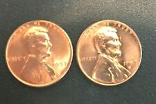 1957 P D  GEM UNCIRCULATED  LINCOLN CENTS 2 COINS