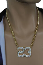 Men Fashion Necklace Gold Metal Chain # 23 Jordan Pendant Bling Hip Hop Jewelry