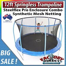 NEW! 12ft Springless Trampoline with Steelflex Pro Enclosure Combo Kids Fun!
