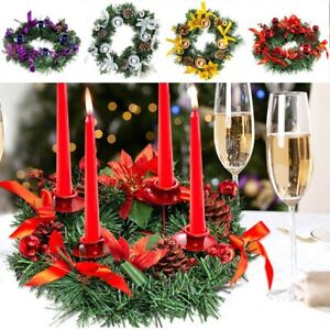 Christmas Day Wreath Candle Holder Center Ornaments Xmas Candles Decor DIY Party