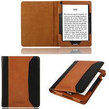100% Slim Genuine Leather folio Smart Case Cover For Amazon Kindle Voyage Brown