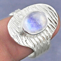 3.82cts Natural Rainbow Moonstone 925 Silver Adjustable Ring Size 8.5 R63340