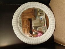 Vintage White Wicker Round Shabby Chic Mirror Bedroom Bathroom 24""