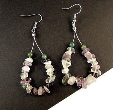Bohemian Pair of Fluorite & Amethyst Gemstone Chips Hoop Dangle Earrings - #358