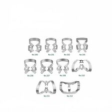ISL DENTAL RESTORATIVE SET OF 10 RUBBER DAM CLAMPS  STAINLESS STEEL.CE