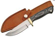 "Hunting Knife | 8.75"" Full Tang Gray Wood Skinner Blade + Leather Sheath"