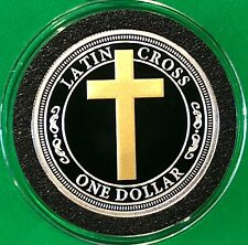 Gold Gilded Latin Cross Tuvalu Coin 26 Grams .925 Fine Sterling Silver Round