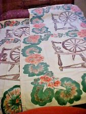 4 Beautiful Vintage Spinning Wheel & Floral Designed Decorative Curtain Panels