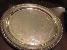 "VTG  WM ROGERS ROUND SILVER PLATE TRAY PLATTER 10 1/4""  #870"
