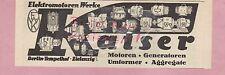 BERLIN-TEMPELHOF, Werbung 1936, Kaiser Elektromotoren-Werke Generatoren