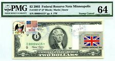 $2 DOLLARS 2003 STAR FLAG OF UN FROM GREAT BRITAIN LUCKY MONEY VALUE $5000