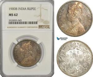 AG238, India (British) Victoria, Rupee 1900-B, Bombay, Silver, NGC MS62