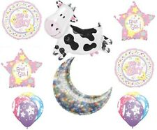 14 pc Cow Jumped Over the Moon Balloon Bouquet Baby Girl Welcome Home Shower Moo