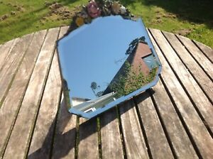 "vintage Large barbola mirror,1930s, bevelled edged flowers, 11"" high"
