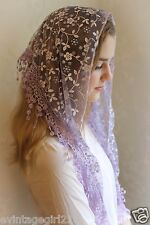 NEW Classic Mantilla LENT Soft Purple Embroidered Chapel Veil Triangle Free Ship