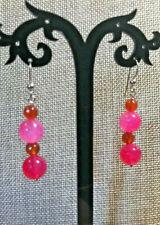 Jay King Pink  Spiderweb Agate Drop Earrings NWT