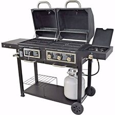 BBQ Grill Dual Fuel Gas Charcoal Combination Cast Iron Grid Stainless Burner