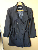 Anne Klein Black Belted Women's Long Trench Coat Size M Medium
