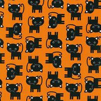 Fabric Cats Black Halloween Urban Zoologie on Black Cotton by the 1/4 yard BIN