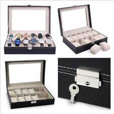 Mens 12 Grids Slot  PU Leather Watch Display Case Storage Box Jewelry Organizer