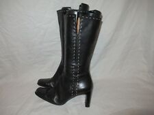 LORENZETTI Square Toe Dress Boot Black Mid Calf Leather Boots Cuban Heel 9