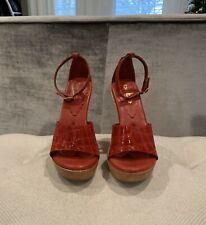 Bebe Red Crocodile Patent Leather Stilleto Heels Size 8