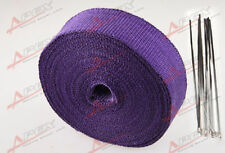 "Fiberglass Exhaust Thermo Wrap Tape High Heat 2"" x 1/16X50FT Cloth Roll Purple"