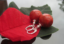 Stunning Red Coral Large 16 mm Bead 925 Sterling Silver Earrings with Leverback