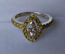 NEW 18KT WHITE GOLD 1.15CTW NATURAL VS COGNAC & FANCY YELLOW DIAMOND RING