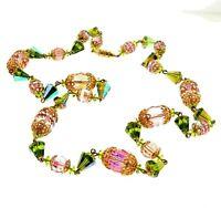 "Vintage Crystal Aurora Borealis Art Glass Bead Necklace Strand 26"""