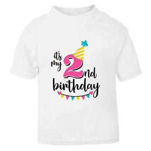 It's My 2nd Second Birthday Childrens Kids T-Shirt T Shirt Girls Cake Smash NEW