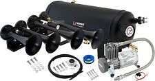 LOUD 4/QUAD TRUMPET TRAIN SOUND AIR HORN FULL SYSTEM KIT 1.5 GAL TANK/COMPRESSOR