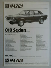 Prospekt Mazda 818 Sedan, ca.1971, Blatt mit Preisangabe, deutsch