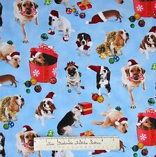 Christmas Fabric - Holiday Friends Pet Dogs Blue - Elizabeth's Studio YARD