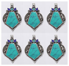 Asian Sterling Silver Pendant Lot of 6 pcs Ethnic Jewelry Turquoise Lapis PP91