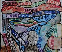 Ambigram Art rare postcard of  tax disc art: Munch The scream Saatchi Gallery