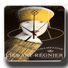 CHAMPAGNE LIEBART-REGN WALL CLOCK VINTAGE PUB BAR MAN CAVE TIN METAL SIGN CLOCK