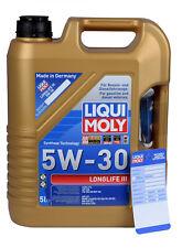 LIQUI MOLY 20647 Longlife III 5 Liter 5W-30 Motoröl Set inkl. Ölzettel & Zubehör